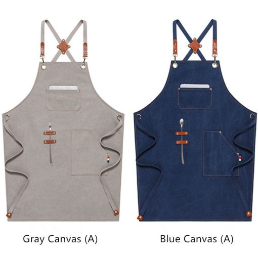 Blue Khaki Canvas Apron Crossback Cotton Strap
