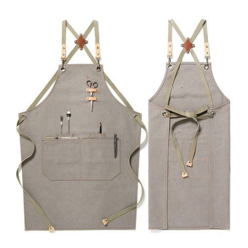 Dark Gray Khaki Canvas Apron Crossback Straps