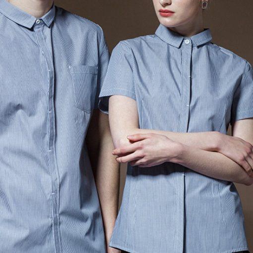 Red Blue Polyester Cotton Short Sleeve Shirt