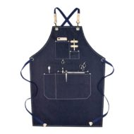 Gray Black Blue Denim Apron Crossback Straps