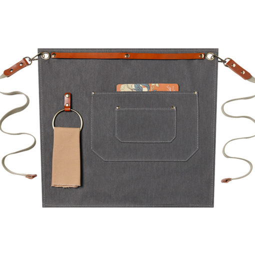 Denim Canvas Waist Apron Leather Straps