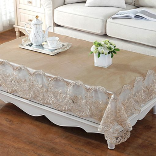 Vintage Gold Elegant Lace Tablecloth