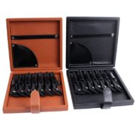 Black Brown Barber Hairdresser Leather Tool Case