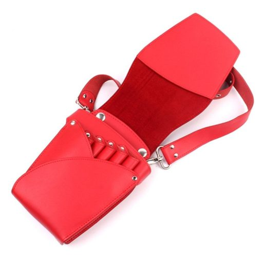Black Red Hairdresser Barber Leather Tool Holster