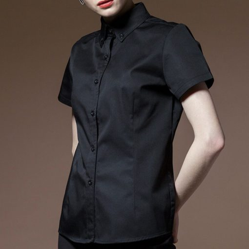Black Red Polyester Cotton Long Sleeve Shirt