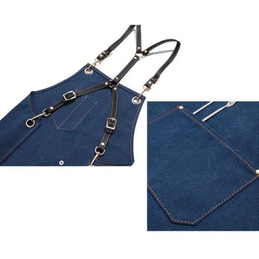 Gray Blue Khaki Canvas Apron Cowhide Leather Strap