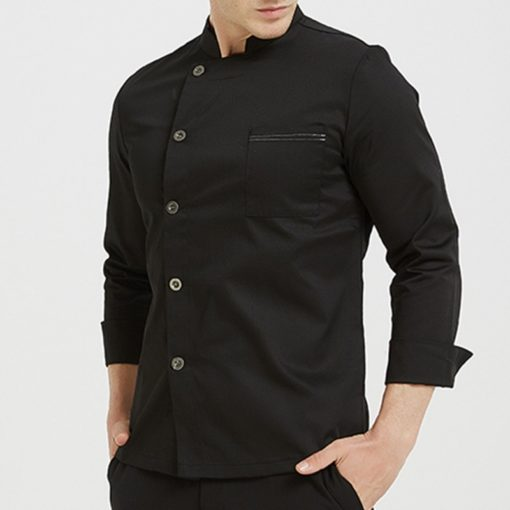 Black White Long Sleeve Chef Jacket