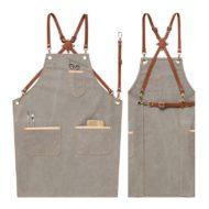 Gray Canvas Denim Apron Crossback Leather Straps