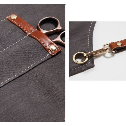 Gray Canvas Denim Apron Crossback Leather Straps