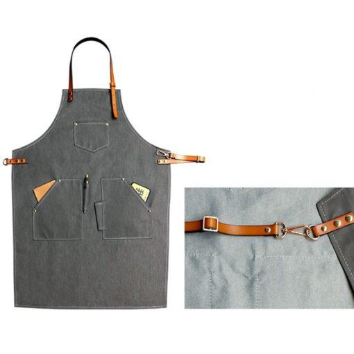 Gray Denim Apron Cowhide Leather Straps
