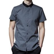 Gray Polyester Cotton Short Sleeve Shirt