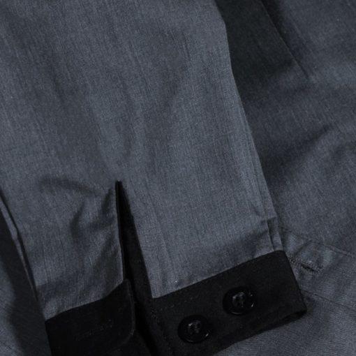 Gray Polyester Cotton Short Sleeve Shirt