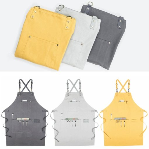 Yellow Gray Canvas Apron Crossback Straps