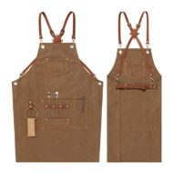 Blue Brown Canvas Apron Crossback Leather Straps