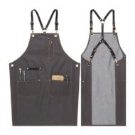 Black Blue Denim Apron Crossback Leather Straps