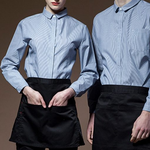 Striped Blue Red Long Sleeve Waitstaff Uniform