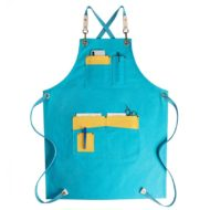 Blue Yellow Canvas Apron Crossback Straps