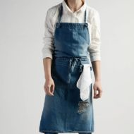 Unisex Gray Blue Long Denim Bib Apron