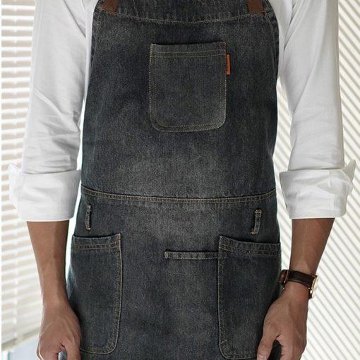 Black Denim Bib Apron Cotton Straps