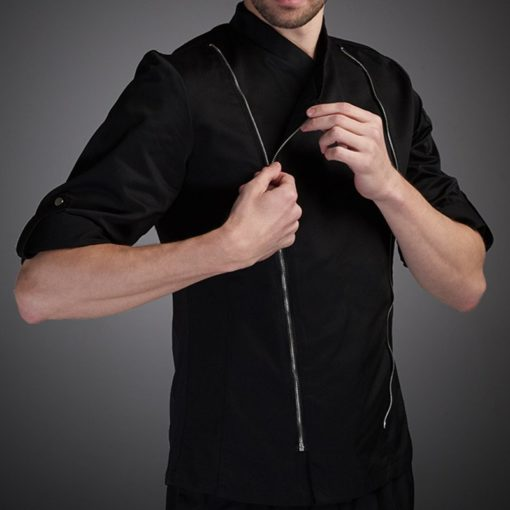 White Black Polyester Cotton Long Sleeve Chef Jacket