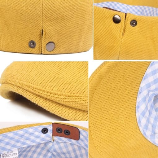Unisex Blue Red Yellow Cotton Beret