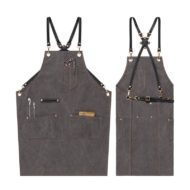 Blue Gray Khaki Canvas Apron Cowhide Leather Strap