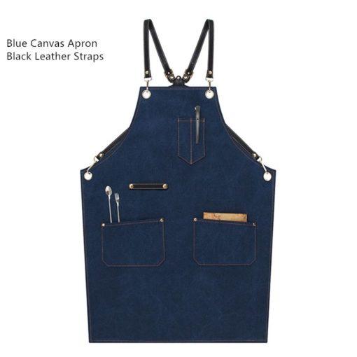 Blue Gray Khaki Canvas Apron Cowhide Leather Strap