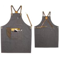 Gray Canvas Apron Crossback Cowhide Leather Strap