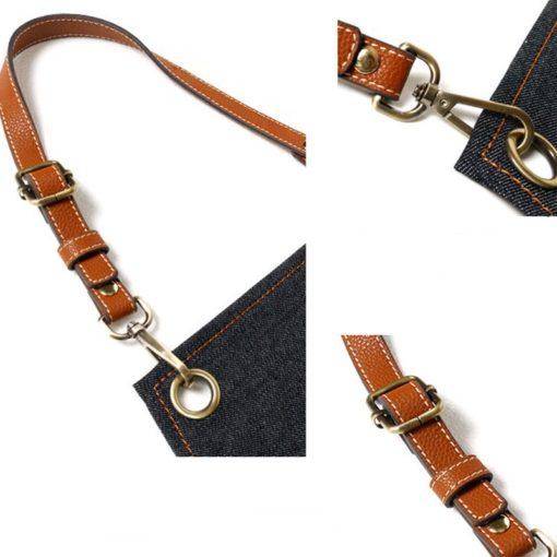 Black Blue Gray Denim Bib Apron Leather Straps