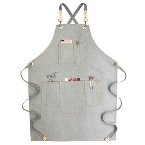 Gray Khaki Canvas Apron Crossback Cotton Straps