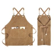 Kids Khaki Canvas Apron Crossback Cotton Straps