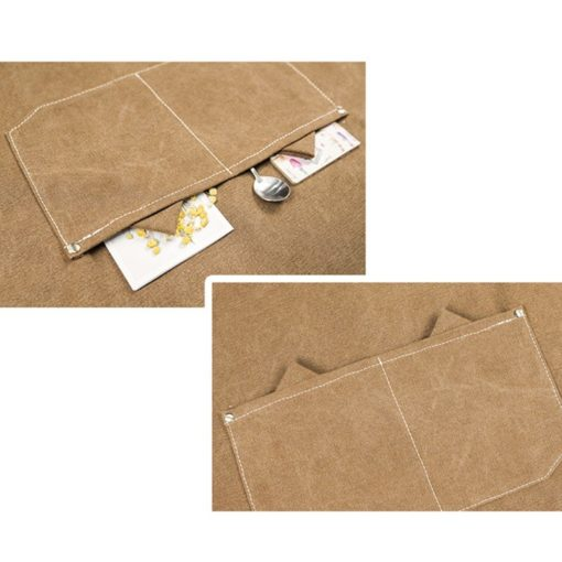Kids Khaki Canvas Apron Crossback Cotton Straps