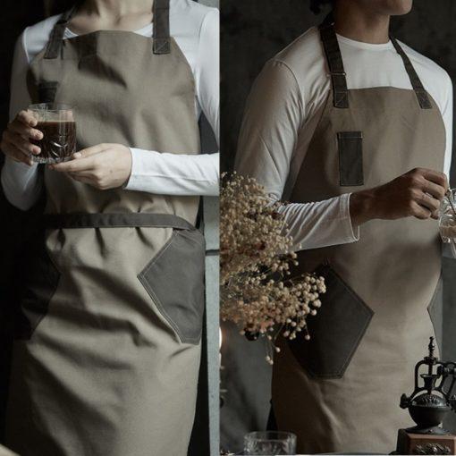 Black Brown Khaki Polyester Cotton Bib Apron