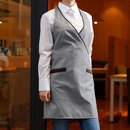 Beige Gray Long Polyester Cotton Apron