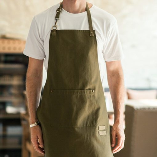 Beige Brown Polyester Cotton Bib Apron
