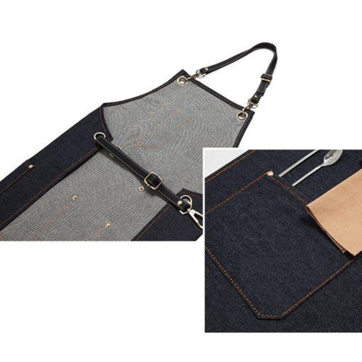 Blue Gray Black Denim Bib Apron Leather Straps