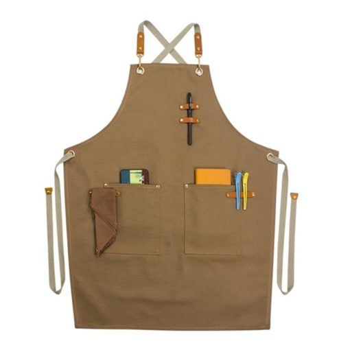 Black Denim Green Canvas Apron Crossback Straps