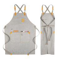 Gray Canvas Apron Crossback Cotton Straps