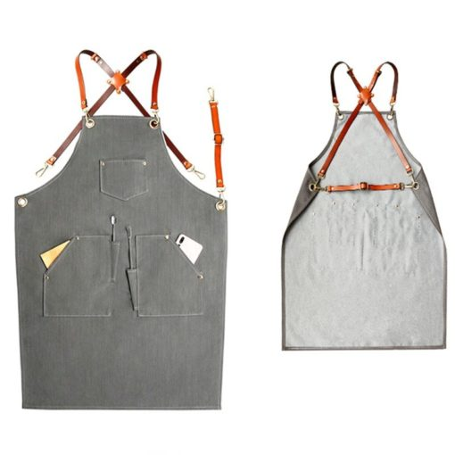 Gray Denim Apron Crossback Leather Straps