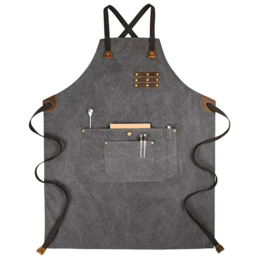 Durable Gray Green Washed Canvas Apron
