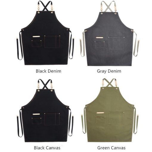 Kids Canvas Denim Apron Crossback Straps