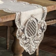 Vintage Embroidery Gray Lace Table Runner