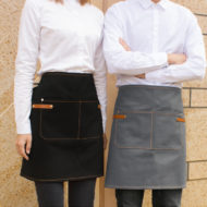Brown Gray Canvas Waist Apron Cotton Straps