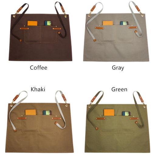 Brown Gray Canvas Waist Apron Cotton Straps