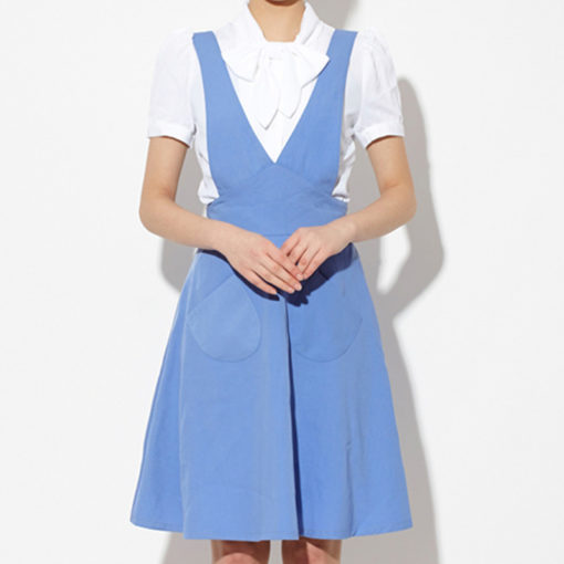 Female Long Blue Polyester Apron