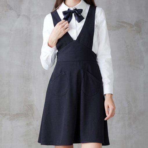Female Long Blue Polyester Apron