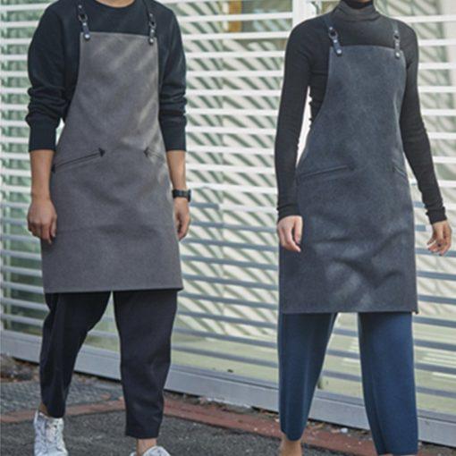 Black Gray Canvas Apron Crossback Cotton Straps