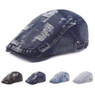Black Cotton Hat Blue Denim Beret
