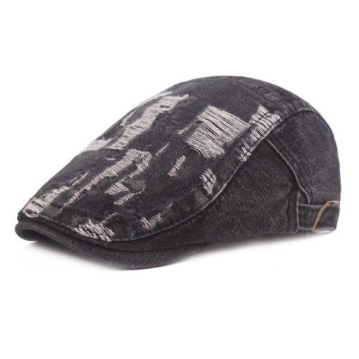 Black Cotton Hat Blue Denim Beret