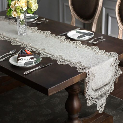 Elegant Gray Embroidered Lace Table Runner